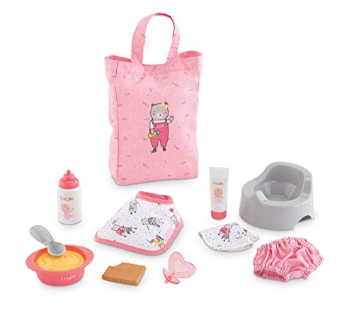 "Corolle - Large Accessories Set for Mon Premier Poupon 12"" Baby Dolls, 11-piece set includes Bottle, Bib, Diaper, Potty, Pacifier, Tote Bag and more"