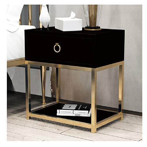 LQIAN Mesita de noche brillante 1 cajón con asas de metal y corredores, soporte único para cajones antiarqueados, muebles de dormitorio de 11,8 x 45 x 50 cm (color: negro)