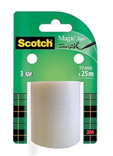 Scotch Magic Klebeband – 3 Rollen 19mm x 33m - Allzweck-Klebeband für die Reparatur, Etikettierung und zum Verschließen von Dokumenten