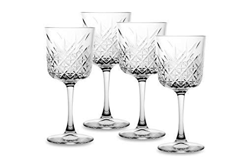 SWEET HOME - Juego de 4 Copas de Vino de Cristal Timeless CL 33 Cód. BC01086LU de 19,5 cm de Altura y 8,8 cm de diámetro por Varotto & Co.