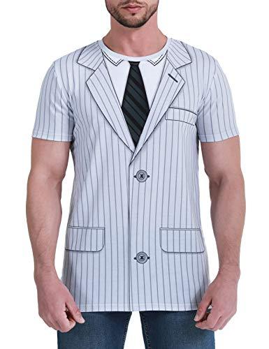 COSAVOROCK Camiseta Smoking Traje con Corbata Esmoquin para Hombre (XXL, Blanco)