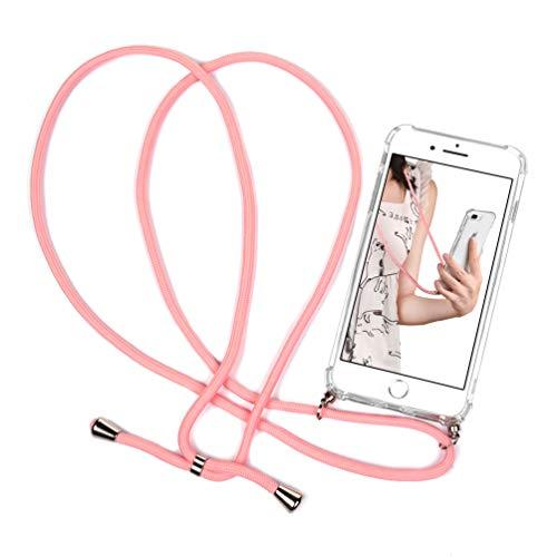 Case para iPhone 7 Plus / 8 Plus, Funda con Correa Colgante Transparente Carcasa de movil con Cuerda para Apple 7 Plus&8 Plus, con Cordon para Llevar en el Cuello, Rosa