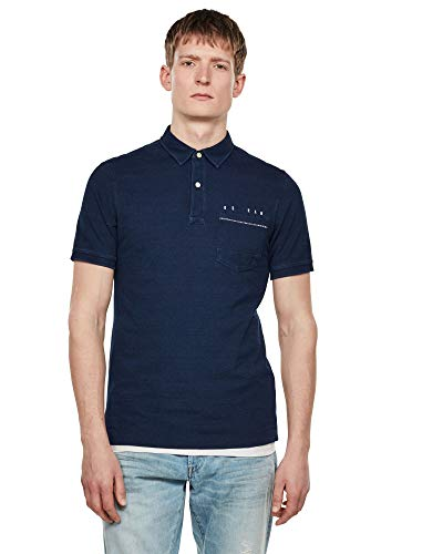G-STAR RAW Mens Slim Polo Shirt, Worn in Indigo C353-B502, Large