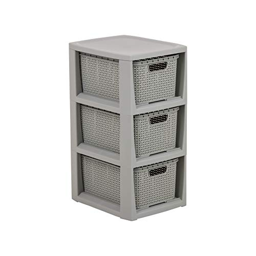 BranQ - Home essential Regal in Rattan Design, BPA-freie Kunststoff PP, Hellgrau, 29,5x24x48,7 cm, 3 körbe