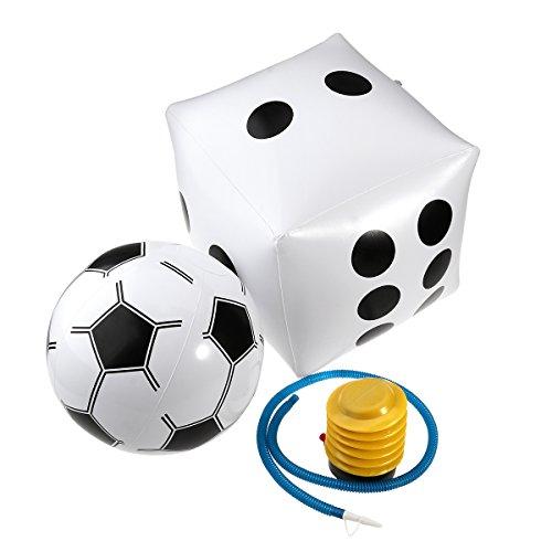 STOBOK Aufblasbare Fußballspielzeugwürfel der Kinder im Freien Jumbo + weißer aufblasbarer Fußball + Inflatorpumpe für das einfache Spielen der Kindererwachsenen