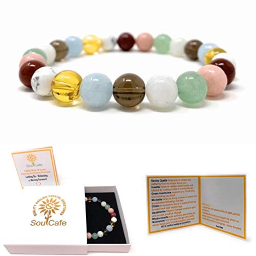 Power Bead Bracelet - Crystals for Letting go of Past - Letting Go Bracelet - Healing Crystal Gemstone Bracelet - Moving Forward - Gift Box and Information Tag