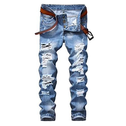Jeans para Hombres Europeo y Americano Diseño de Personalidad Ripped Tide Jeans de Cintura Media Moda de Verano Jeans Casuales 28