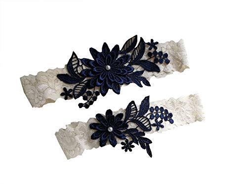 Abading Dasiy Wedding Garters for Bride Bridal lace Garter Set Hand Sewn Pearls(Navy)