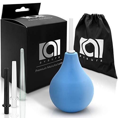 AVAURA® Premium airconditionerset, 225-ml, incl. 3 opzetstukken voor een optimale darmreiniging + reistas + digitaal gebruikersboek - medische anale douche voor mannen en vrouwen blauw