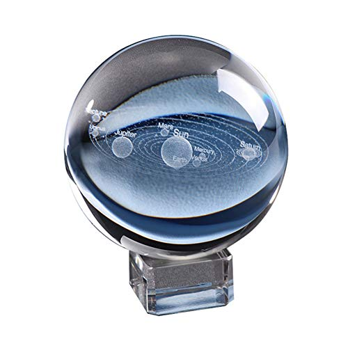 Sistema solar 3D Bola de cristal grabada Sistema Solar Planetas miniatura Modelo Globo Bolas Decoración del hogar (Decoración del hogar)