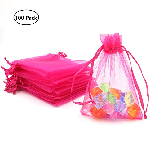 ATCG 100pcs 3x4 Inches Drawstring Organza Pouches Wedding Party Favor Gift Candy Bags (HOT PINK)