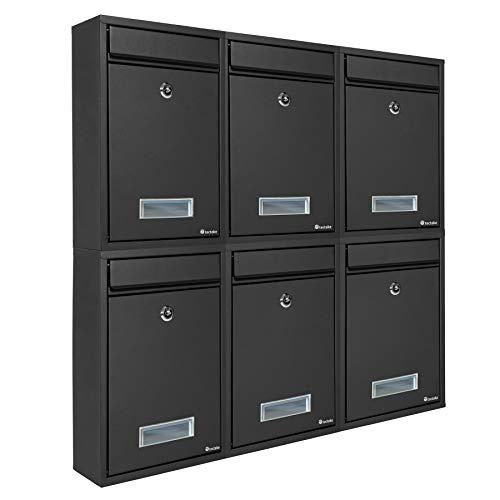 TecTake Briefkasten Briefkastenanlage 32,5 x 21,5 x 85 cm mit Namensschild aus Stahl schwarz - 6
