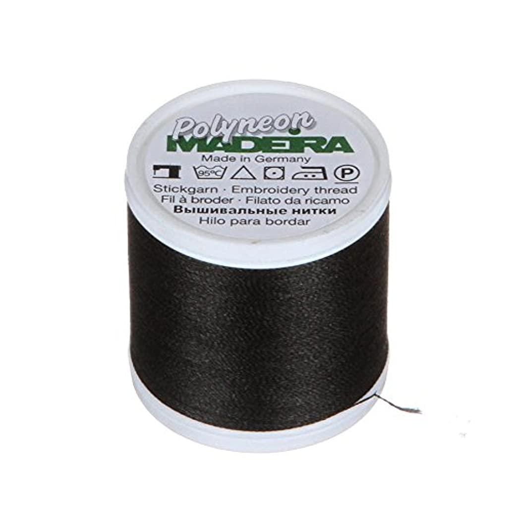 Madeira 9845-1800 2 Ply Polyneon Polyester Embroidery Thread, 40wt/135d 440 yd, Black