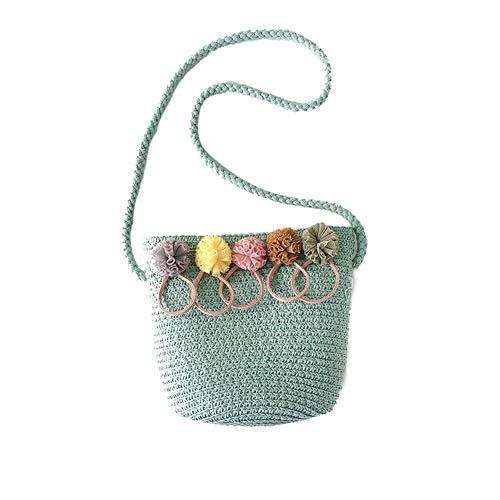 Fablcrew Kleine Umhängetasche aus Stroh, schick, Strandtasche für Babys, Kinder, Mädchen, grün
