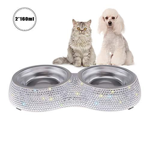 SAVORI Hundenäpfe, 320ml / 4.5 Unze handgemachte Funkelnde Rhinestones Edelstahl Haustier Schüsseln Doppeltierfutter Wasser Zufuhr für Welpen Hunde Katzen (Weiß)