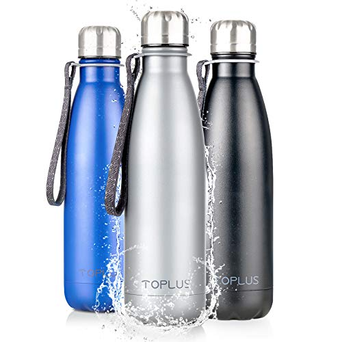 TOPLUS Thermobecher/Isolierbecher 500ml, Thermosflasche Isolierflasche, Vakuum Isolierte 304 Edelstahl Reisebecher, Kein BPA Trinkflasche - 24 Std Kühlen & 15 Std Warmhalten, 100% dicht, Grau