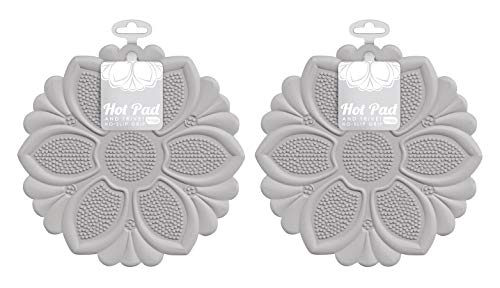 Talisman Designs No-Slip Grip Silicone Hot Pad Spoonrest, and Trivet, Gray, SET of 2