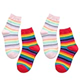 Women Vintage Crew Socks Rainbow Striped Print Colorful Cotton Novelty Ankle Socks 4 Pairs Size 5-9 (Mulitcolor A) -  Totoci