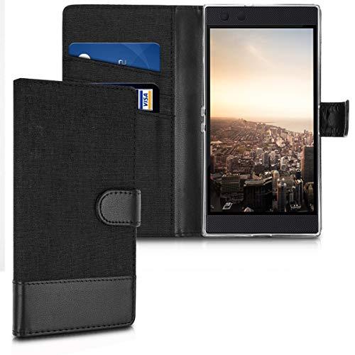 kwmobile Hülle kompatibel mit Razer Phone 2 - Kunstleder Wallet Hülle mit Kartenfächern Stand in Schwarz Anthrazit