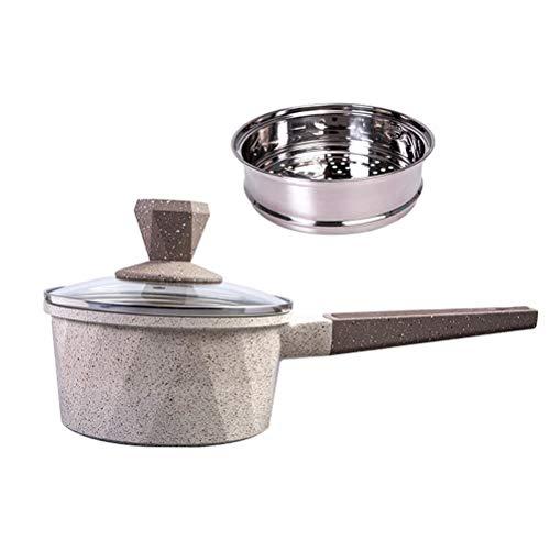 Pot Mini Leche Pan multifunción Cazo con la Calidad del pote de la Tapa, Cacerola Antiadherente de 6,3 Pulgadas de Utensilios de Cocina, Rombo Diseño (tamaño : B)