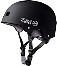 OutdoorMaster Skateboard Cycling Helmet - Two Removable Liners Ventilation Multi-Sport Scooter Roller Skate Inline Skating Rollerblading for Kids, Youth & Adults - M - Black
