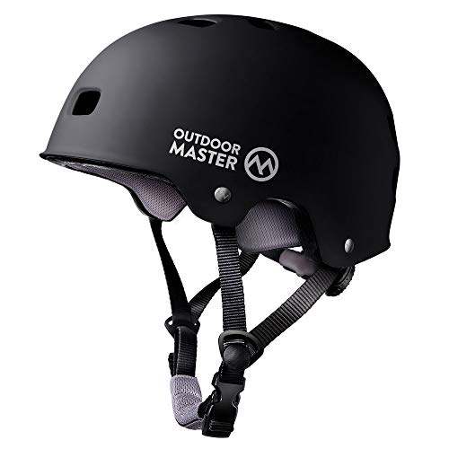 OutdoorMaster Skateboard Cycling Helmet - Two Removable Liners Ventilation Multi-Sport Scooter Roller Skate Inline Skating Rollerblading for Kids, Youth & Adults - L - Black