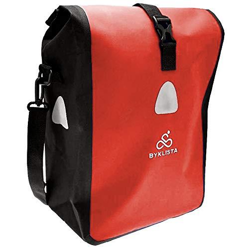 BYKLISTA® Fahrradtasche Gepäckträger Tasche + Gratis eBook – Gepäckträgertasche Fahrrad Tasche Radtasche – Fahrradtaschen für Gepäckträger Wasserdicht mit Reflektoren & Schultergurt - rot