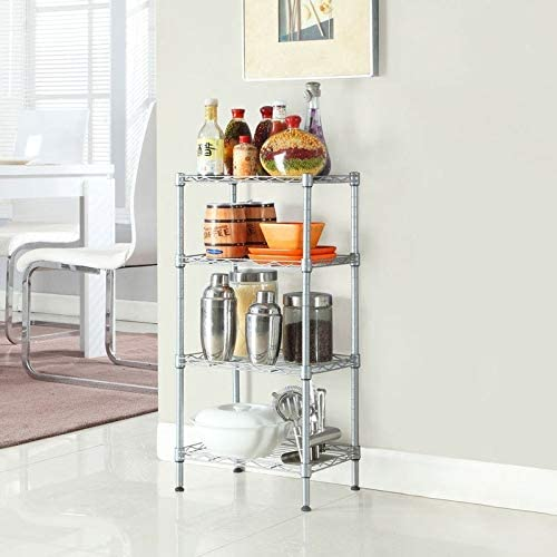 Unknown1 Today's only Rectangle Carbon Steel Metal Storage Rack Charlotte Mall Silve 4-Shelf