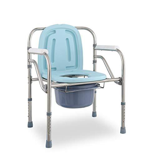 DONGCY Fahrbar Toilettenstuhl Nachtstuhl Duschstuhl Klappbett Kommode Stuhl Sitz Toilette Haushalt Erwachsene ältere Schwangere Höhenverstellbar,Dark-Blue