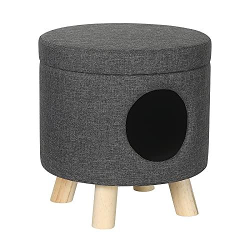 EUGAD Sitzhocker Katzenhöhle Hundebox mit Stauraum Fußhocker Aufbewahrungsbox, Deckel abnehmbar, Gepolsterte Sitzfläche aus Leinen, Massivholz, Dunkelgrau 0070DZ