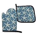 AetherTime Starfish Coastal Wool Manoplas para Horno y agarraderas para ollas Cocina Set Heat Resistant BBQ Horneando Cocinando Guantes