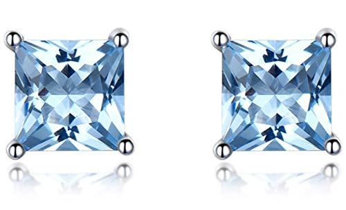 XIRENZHANG Pendientes de mujer 925 Tremella simples cuadrados, topacio azul, pendientes de alta gama