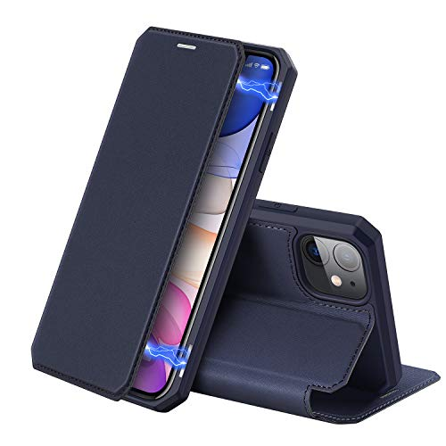 DUX DUCIS Hülle für iPhone 11, Premium Leder Magnetic Closure Flip Schutzhülle handyhülle für Apple iPhone 11 Tasche (Blau)