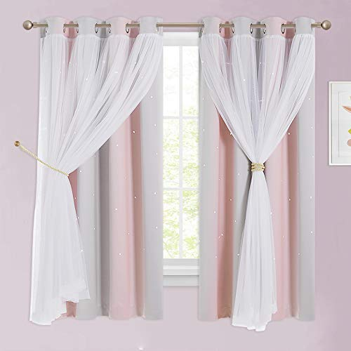 NICETOWN Baby Room Decor, Short Window Curtains for Girls Bedroom, Mix & Match Elegance White Sheer x Cosmic Star Themed...