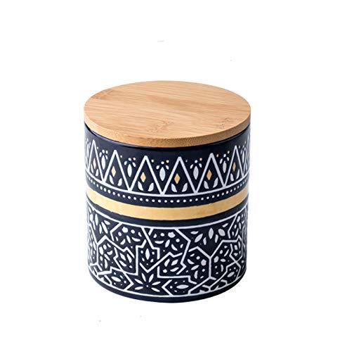 WXXT Frascos de Almacenamiento de Alimentos,frascos de cerámica para Almacenamiento de Alimentos con Tapas de bambú Gruesas Selladas,frascos para té,café,azúcar,Especias(750ml)