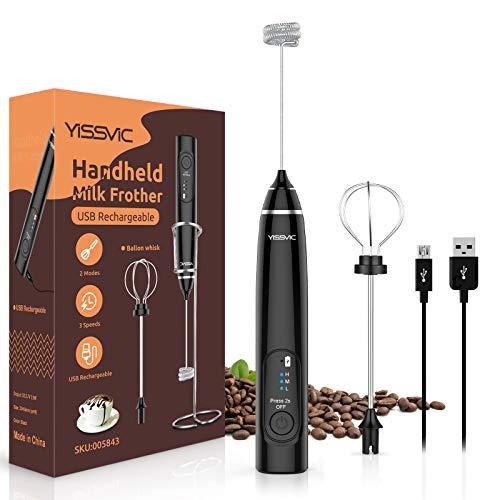 YISSVIC Milchaufschäumer Elektrischer USB Aufladbar Handheld Aufschäumer Mixer mit 3 Drehzahlen Doppeltem Quirl für Kaffee Latte Cappuccino Schwarz