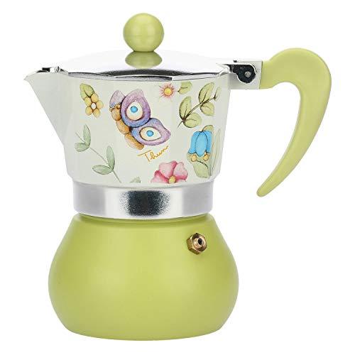 Thun Espressokocher mit 3 Tassen, dekoriert mit Blumen und Schmetterlingen, Küchenzubehör – Linie Country, Aluminium und Silikon – 8 x 8 x 13 cm