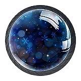 AITAI Juego de 4 pomos decorativos para puerta, diseño de copo de nieve, color azul, elegante, para armario, cajón, aparador, dormitorio