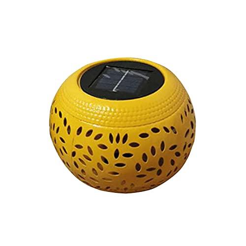 QOTSTEOS Linterna solar, resistente al agua, para colgar en el baile, llama, luz LED, lámpara decorativa de escritorio para patio, fiesta, pasarela, terraza, jardín, césped (amarillo)