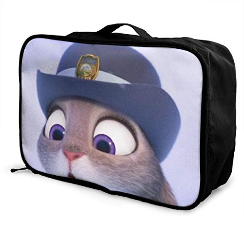 Cute Big Eyes Rabbit Police Officer Travel Duffel Bag Storage Paet Foldable Waterproof Lightweight Portable High Capacity Tote Carry on Lage Bags