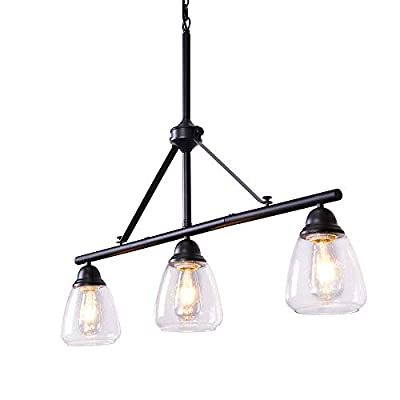 """Wellmet Modern 3 Light Pendant Lighting for Kitchen Island, 36"""" Farmhouse Dining Room Lighting Fixtures Hanging Linear Black Industrial Chandelier with Seeded Glass Shades, Adjustable Height"""