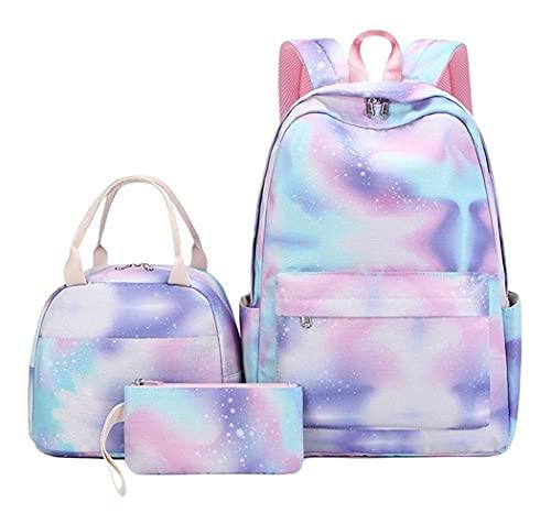 X/L Mochila Escolar para Niñas, 3Pcs School Bag Set with Pencile Bag and Lunch Bag Fit 15inch Laptop For Teens Boys Kids Travel Daypack (Color : Blue and Purple)