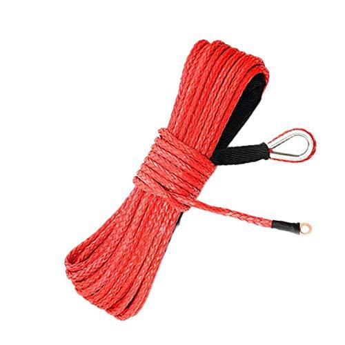 Nylon Synthétique Treuil Ligne Câble Corde 7700lbs Cable de Treuil avec Douille Protectrice pour ATV UTV SUV 4 x 4 Offroad, 6mm X 15m