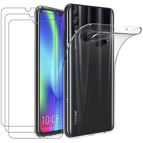 ivoler Hülle für Huawei P Smart Plus 2019 / Honor 20 Lite/Honor 20e, mit 3 Stück Panzerglas Schutzfolie, Dünne Weiche TPU Silikon Transparent Stoßfest Schutzhülle Durchsichtige Kratzfest Handyhülle