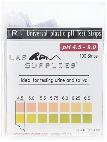 Plastic pH Test Strips, Universal Application (pH 4.5-9.0), 100 Strips   for Urine, Saliva, Aquariums, etc.