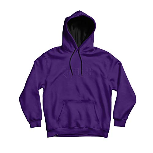 Twitch Puff Logo Embossed Pullover Hoodie with Durable Drawstrings and Fashionable Design for Online Live Video Streamers and Gamers – Purple (Small)