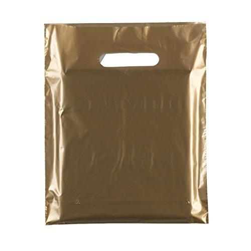 Complete Retail Solution Ltd Bolsas de plástico, 50 micras, Resistente, 25 x 30 cm, Color Dorado