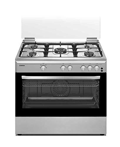 Cucina a gas con forno CC9090HGCX Infiniton (5 fuochi, inox, piano cottura indipendente, piastra + forno, kit gas naturale, doppia porta in vetro, fornello con sicurezza)