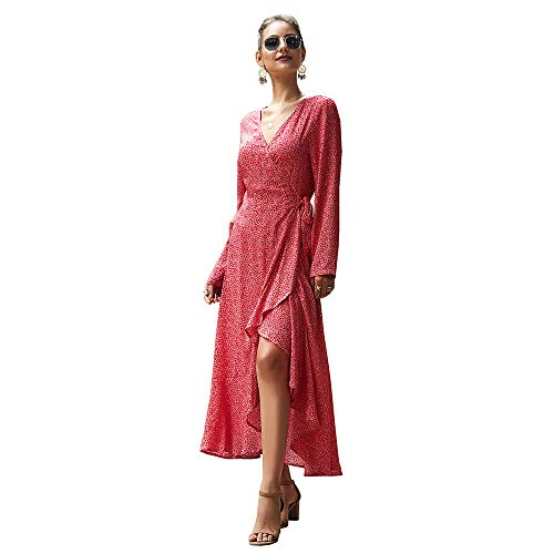 TJZY Women V-Neck Lace Dress Flounced Waist Long Sleeve Dress Party Beach/Wine red/S