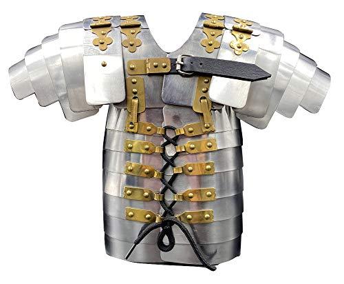 AnNafi Mini Roman Lorica Segmentata Traje de armadura soldado militar armadura pequea SHOWPIECE   Disfraz de guerrero medieval SCA LARP plata oro